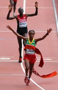So knapp war die Entscheidung um Gold und Silber beim WM-Marathon in Peking. © Getty Images for IAAF