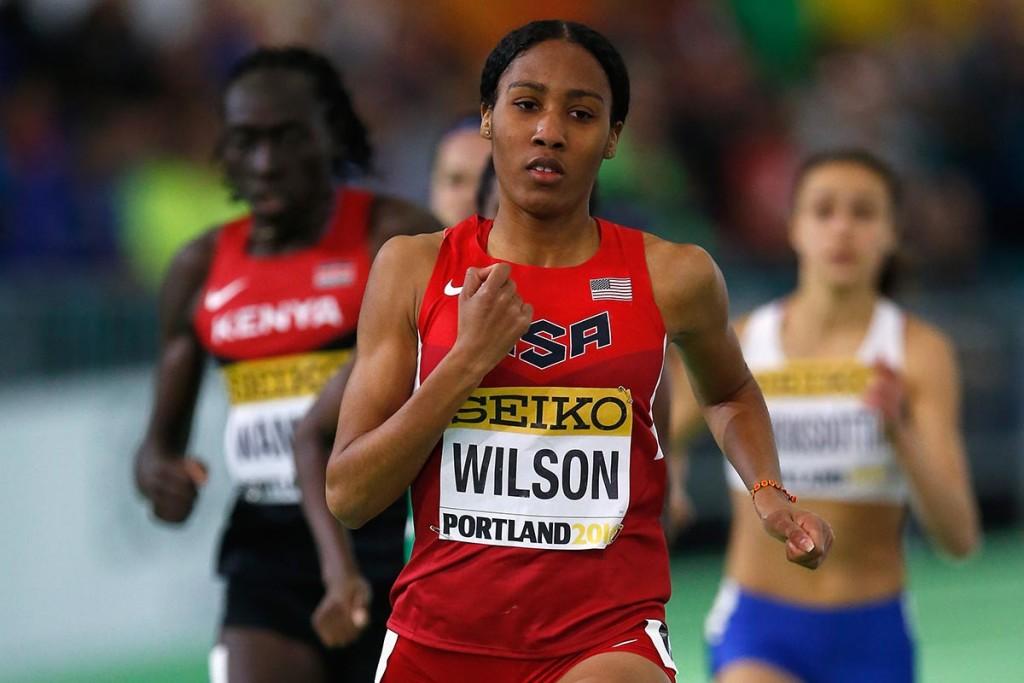 Ajee Wilson bei den Hallen-Weltmeisterschaften 2016, wo sie Silber gewann. © Getty Images for IAAF