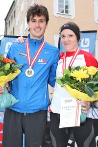 Die beiden Staatsmeister im Halbmarathon 2016, Valentin Pfeil und Sandrina Illes. © Jedermannlauf / Uwe Brandl