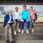 v.l. Renndirektor Jo Schindler, Fate Tola, Arne Gabius und Katharina Heinig. © Mainova Frankfurt Marathon