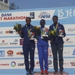 Siegerin Eunice Chumba gemeinsam mit Vorjahressiegerin Tigist Girma (l.) und  © Beirut Marathon / facebook