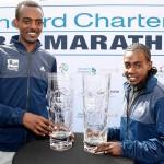 Die Titelverteidiger Tamirat Tola und Worknesh Degefa wurden entthront. © Dubai Marathon / Giancarlo Colombo