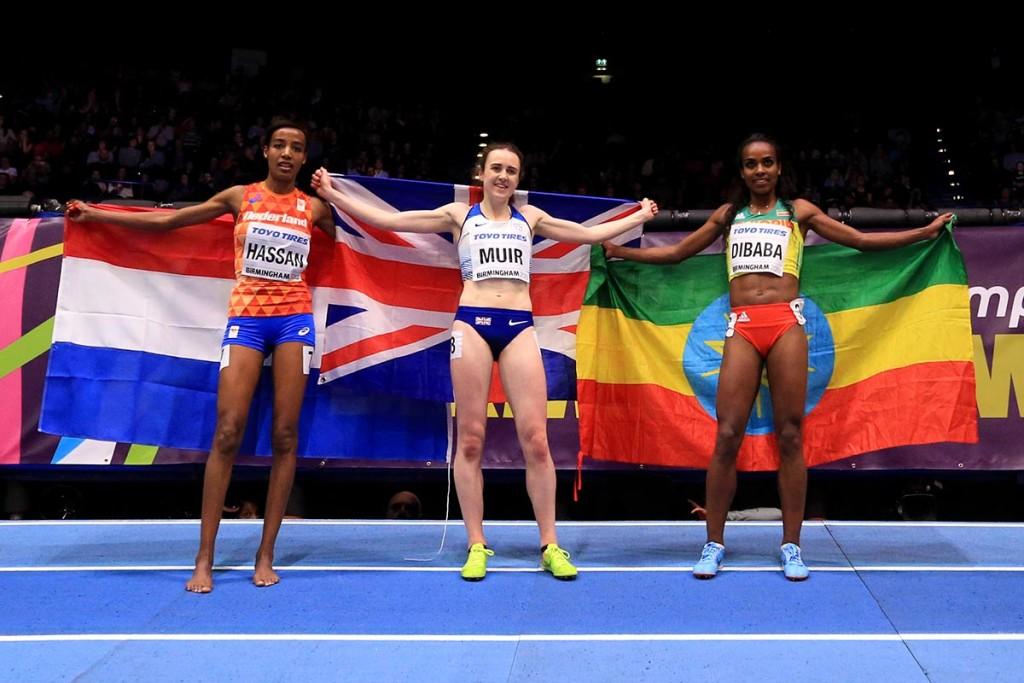 Der Eindruck täuscht über das sportliche Realergebnis hinweg. Aber in der Gunst ders Publikums stand tatsächlich die Britin Laura Muir ganz oben. © Getty Images for IAAF / Stephen Pond